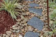 Stepping stones along dry stream