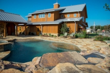 Pool landscaping and waterfall