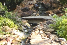 Stream, pond, and arched bridge
